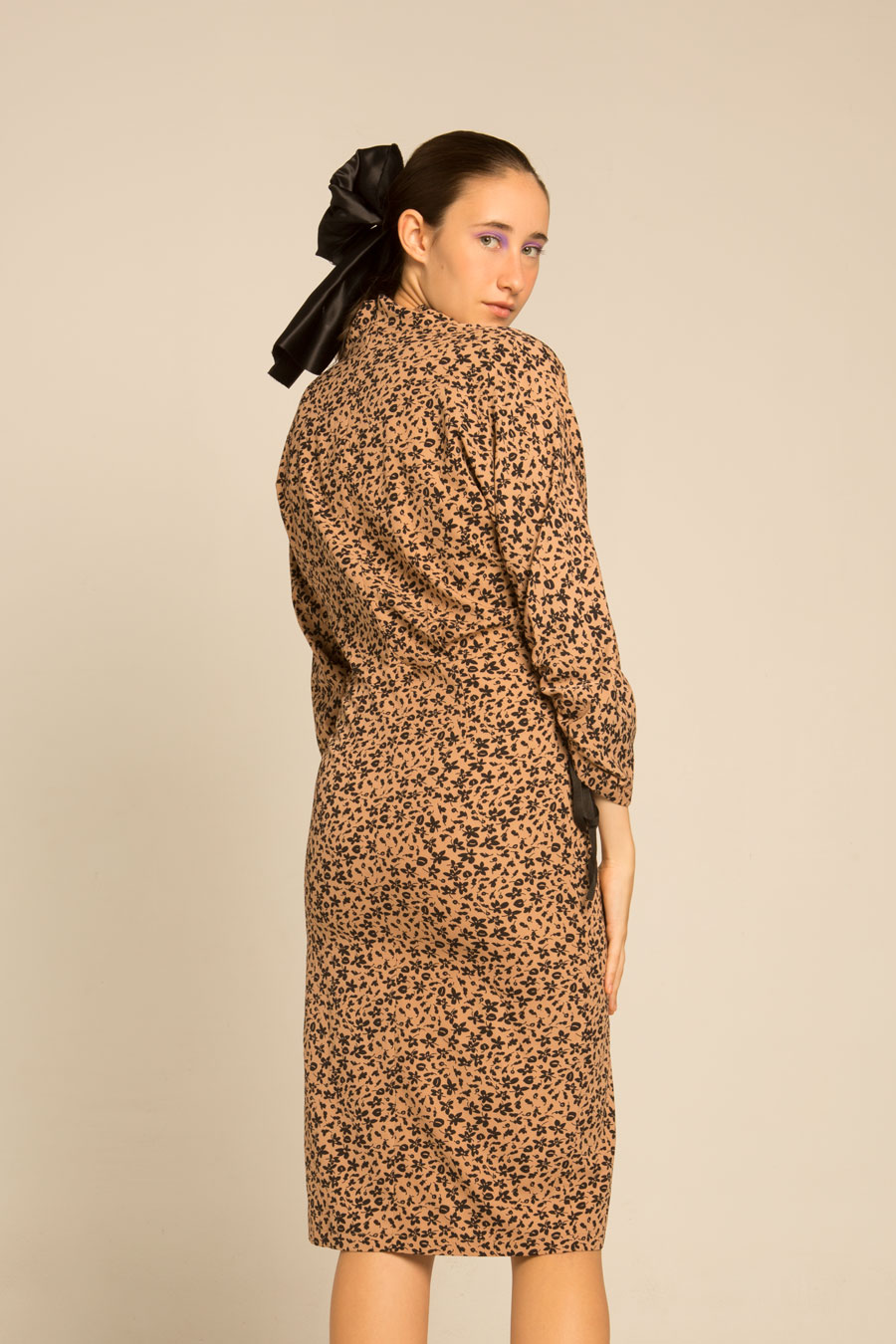 Gatheredllong Sleeve Midi Dress With High Collar And Back Zip Fasyening. Featuring Floral Print